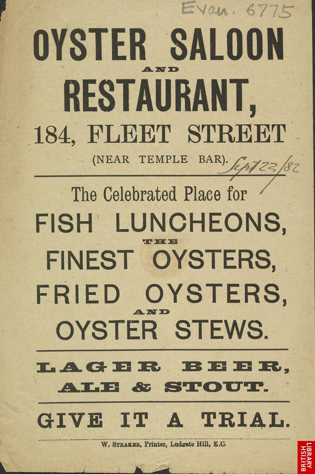 Advert for the Oyster Saloon & Restaurant
